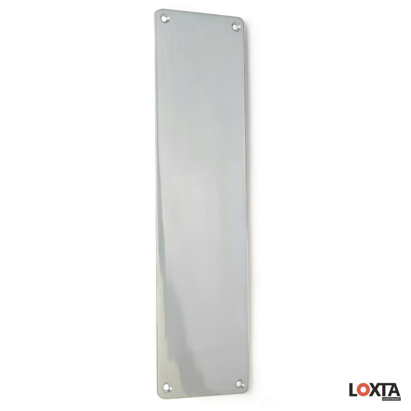 PR43010 3mm Aluminium Push Plate, Radius Corners, 75mm x Multiple Lengths