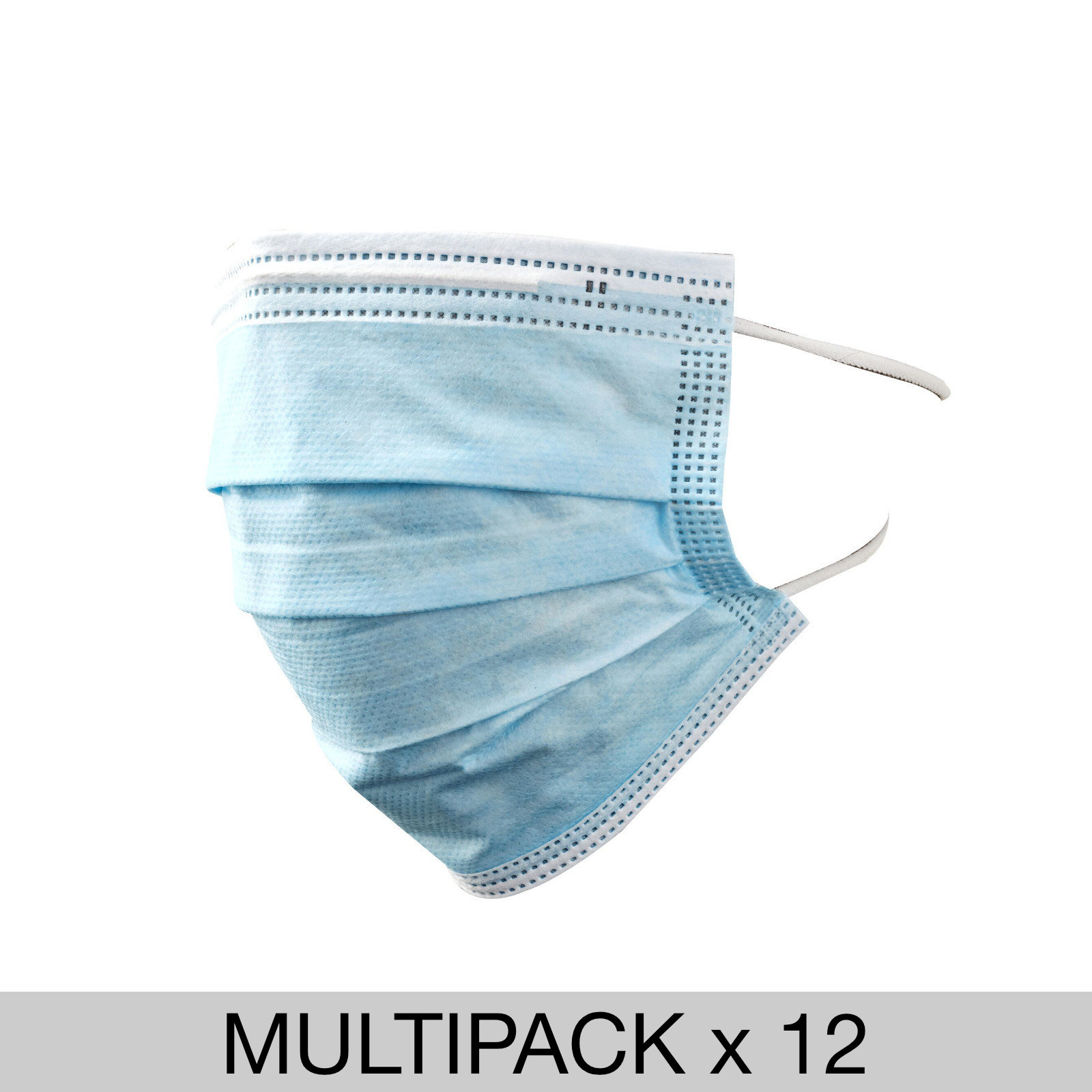 12 Pack 3 Ply Disposable Medical Face Mask (Class 1) - 50 Masks Per Box - Bulk Pack