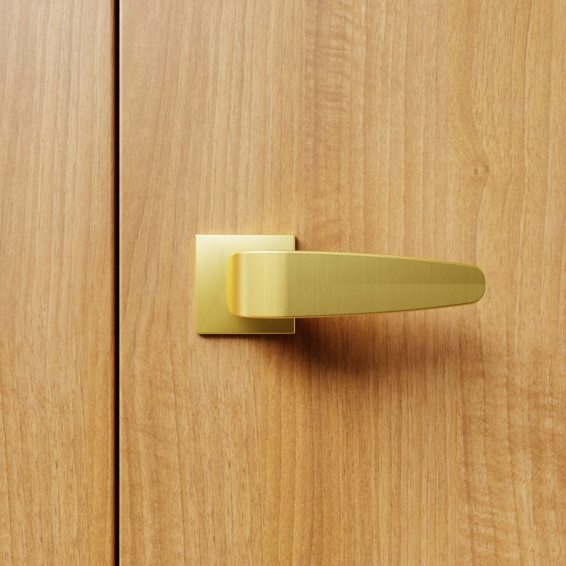 MY68511 Hanover Luxury Door Handle on Square Rose, Hot Forged Brass